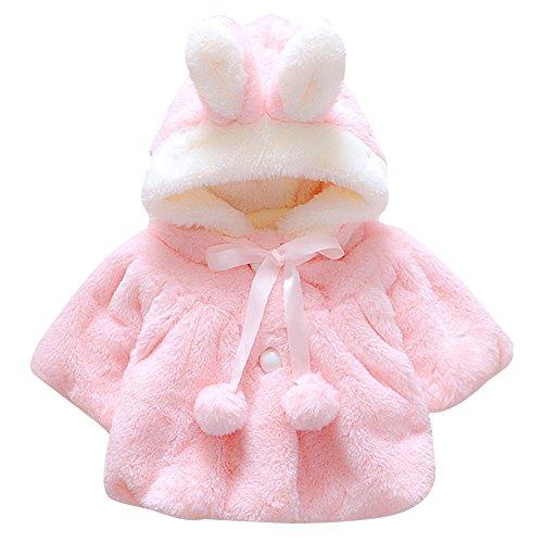 CHIC-CHIC Newborn Infant Baby Girl Faux Fur Warm Winter Hooded Cape Cloak Hoodie Coat