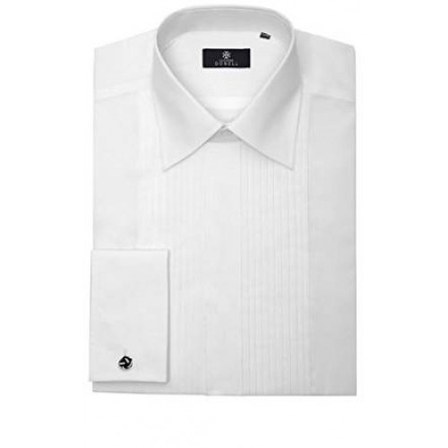 Mens White Tuxedo / Dress Shirt with Standard Collar and Pleated Front