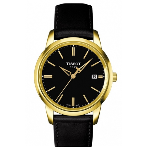Mens Tissot Classic Dream watch in black and gold